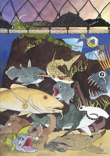 Acuarela que recoge diferentes peces caracterizados como si fueran rockeros: unos tienen piercings, otros imperdibles o cadenas. Todos ellos están como si fuera una quedada rockera en la roca de la Pi