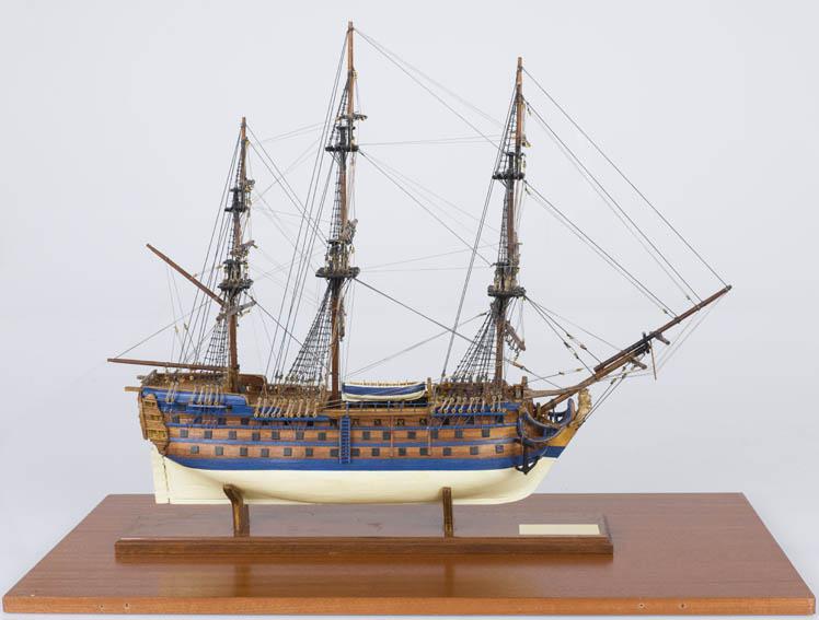 """Modelo a escala del navío """"Santa Ana"""" de 112 cañones construido en los astilleros de Ferrol por Romero Landa y botado el 29 de septiembre de 1784. Su traza está basada en los diseños del"""