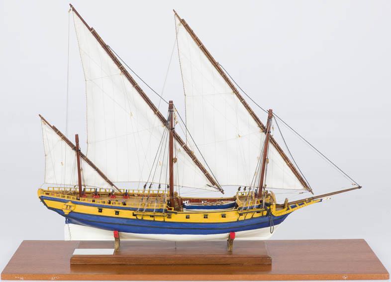 """Modelo a escala del jabeque """"Galgo"""" que pertenece a la primera serie de jabeques construidos por la Armada española. Esta serie estuvo formada por 4 unidades construidas en Cartagena en 1750, siendo e"""